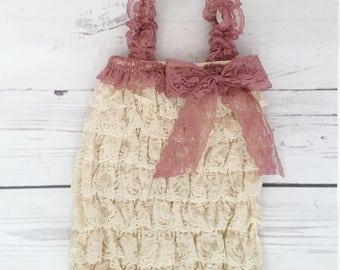 baby girl clothes-Vintage pink lace romper headband set-petti lace romper-newborn photo prop-1st birthday outfit-lace romper-newborn romper