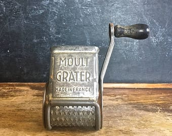 Mouli Grater France Vintage Kitchen Tool French Cooking Cheese Grater Hand Grater Wood Handle