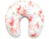 Nursing Pillow Cover Pink Plush Floral. Nursing Pillow. Nursing Pillow Cover. Minky Nursing Pillow Cover. Floral Nursing Pillow Cover.