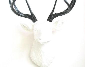 SALE WHITE BLACK Faux Taxidermy Deer Head White head wall mount office home decor kids decor: Deerman the Deer Head / classic