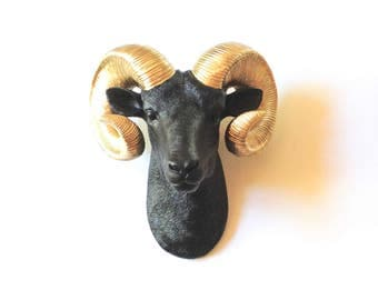 CuStoM Ram Faux Taxidermy Ram Head wall mount in BLACK with GOLD HORNS / faux animal head / faux taxidermie  black and gold animal head head