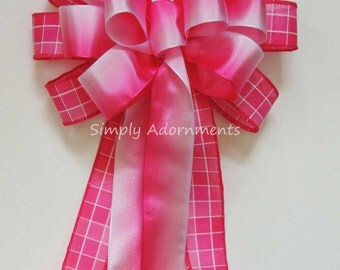 Fuchsia Ombre Pink Wreath Bow Pink Valentine Wreath bow Pink White Church Aisle Decoration Hot Pink Bridal Shower Decor Birthday Party Decor