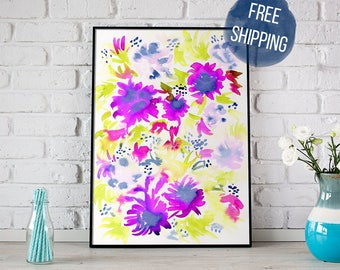 Watercolor Floral Painting #1 | Vibrant Fine Art Print | 8x10 | FREE Shipping