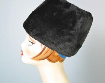 Black Fur Hat / Vtg 50s / Brimless Cossack Style Black Cut Rabbit or Seal Fur hat