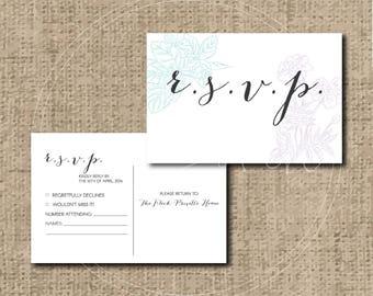 Custom/Printable PDF Wedding RSVP Postcard