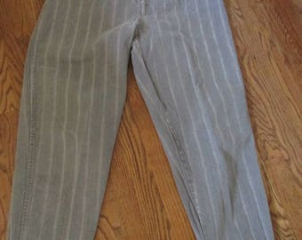 1980's gray stripe high waisted jeans
