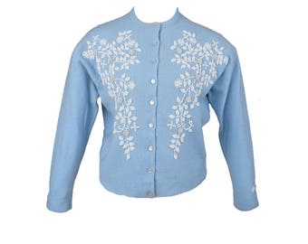 Vintage 50s 60s Beaded Cardigan // Pastel Blue // Lambswool // M