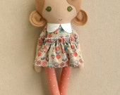 Fabric Doll Rag Doll Light Brown Haired Girl in Tan, Coral, and Teal Modern Floral Print Dress