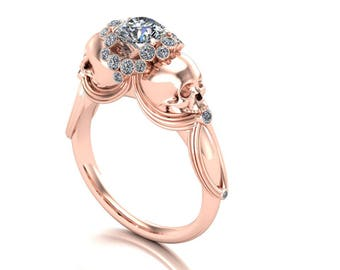 14k All Rose Gold Day of the Dead Engagement Ring