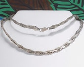 STERLING Silver Chain Necklace , Fancy Flat Braid Interlocking Link Signed 925 , VINTAGE Long Silver Chain Necklace