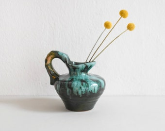 Handled vase, Small vase, West German pottery, green pottery, turquoise vase