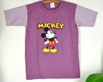 70s 80s Mickey tee / vintage velva sheen striped t-shirt