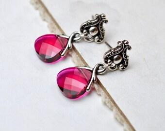 Ruby Crystal Earrings, Ruby Red Stud Earrings, Stud Dangle Earrings Vintage Style Jewelry, Swarovski Stud Earrings, Anniversary Gift for Her