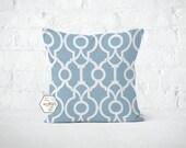 Blue Scrollwork Lattice Pillow Cover - Lyon Cashmere - Lumbar 12 14 16 18 20 22 24 26 Euro - Hidden Zipper Closure