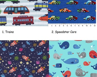 Day Care Cot Sheet - 100% Cotton Flannel - Boys/Girls - Trains, Speedster Cars, Space Rockets, Happy Whales
