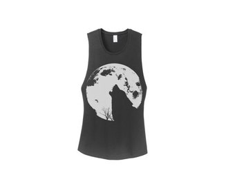 Womens Howling WOLF MOON desert wanderer fashion boho chic Gypsy Yoga Muscle Tank Boho Top,  More colors s m l xl
