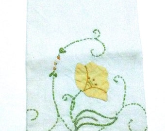 Poppy Linen Tea Towel Embroidered 1950s