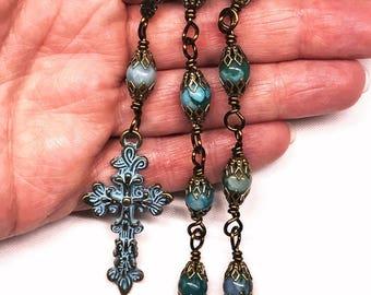 Victorian Style Patina Cross,Light Blue,Marbled Jasper,Vintage Bronze Bead Caps,Pocket Rosary,Purse Dangle,Car Cross,Christian,Prayer Beads