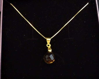 Teardrop faceted smoky quartz pendant on gold plated necklace, birthstone pendant, november birthstone
