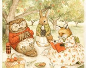 You're the Apple of My Eye Print 8x10 - illustration, watercolor, painting, children's art, animals, cute, fox, rabbit, owl, woodland picnic