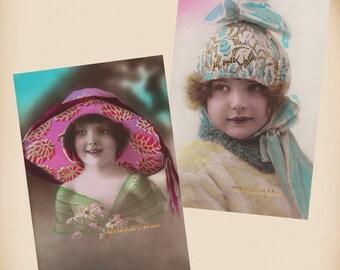 Art Deco Girl - 2 New 4x6 Vintage Postcard Image Photo Prints - CD012 CD04
