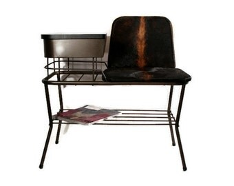 Vintage Mid Century Telephone Seat - Gossip Bench - Upcycled Furniture - Cowhide Leather - 1960s - Lu Van - Black Copper