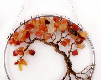 Carnelian Wire Tree of Life Wall Hanging, Autumn Tree Bonsai Sun Catcher - Small