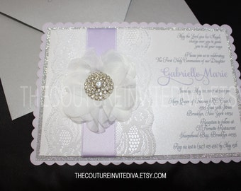 Lace First Holy Communion Invitation; Baptism Invitation, Christening Invitation, Communion Invitation, Lace Communion, Confirmation