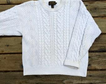 Retro Sweater, Fisherman Knit Cable Sweater, Eddie Bauer, Cream Color, Cotton, Beautiful