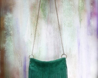 fringe bag, green suede boho bag, fringed leather clutch, crossbody fringe bag