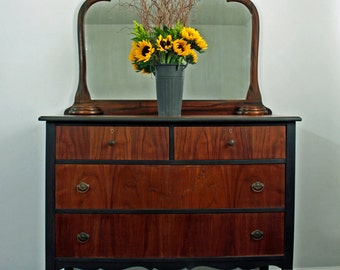 SOLD Vintage, Hand Painted Dresser With Mirror, Black and Natural Wood