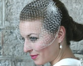 Birdcage veil on hair clip, bridal headpiece, birdcage wedding hair piece, bridal veils and headpieces, bride, wedding ivory veil white veil