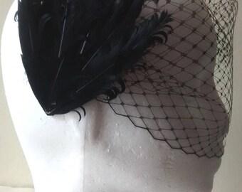 Black birdcage veil with feather hair clip, hair barrette with feather headpiece, hair accessory fashion hair piece vintage black fascinator