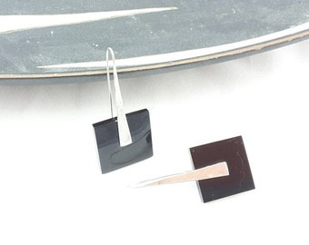 Mid Century design sterling silver and black acrylic pendant earrings with geometric design/ Vintage retro jewellery