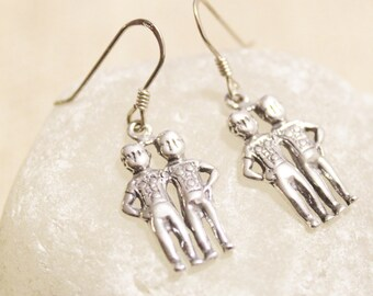 Sterling Silver Gemini Dangle Earrings, Gemini Jewelry, Zodiac Sign Earrings