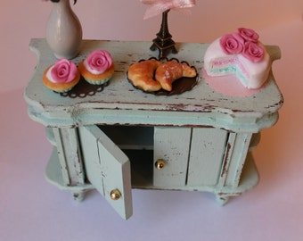 Shabby chic pastel Paris Side Cupboard cake,eiffel tower,biscuits,cupcakes,roses lilac and chocolate-miniature dollhouse12th scale-furniture
