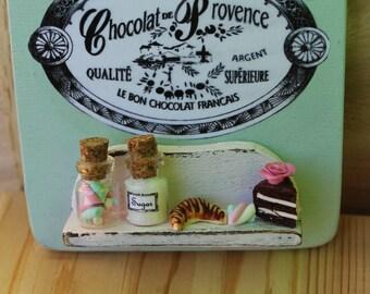 Shabby chic romantic vintage Paris patisserie handmade door hanger wood sign,cupcake,croissant, roses-Wall decor