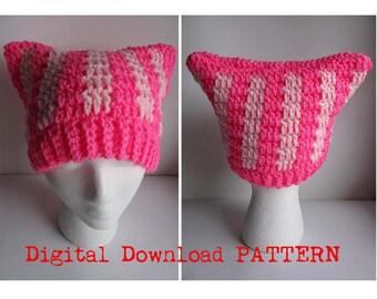 Crochet Pink Pussyhat Digital PATTERN / Cat Ear Hat Pattern / Pattern for Pussyhat /  Pussyhat Project  Crochet Pattern