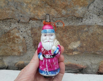 Vintage Santa Christmas Light Bulb Painted Milk Glass Retro Holiday Decor Figural Santa Claus Lightbulb Collectible