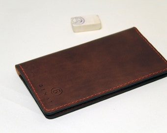 handmade leather cheque book case , business card case, brown with red