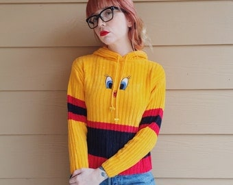 Chenille Velvet Embroidered Looney Tunes Tweety Bird Pullover Hoodie Sweater Top // Women's size XS