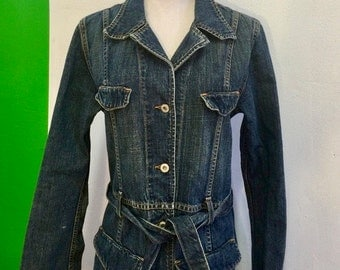 Vintage 80's Hipster Boho Guess Jean Denim Maxi Coat