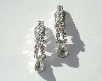 Vintage Rhinestone Crystal Earrings -  Silver Tone Dangle Clip On Retro Costume Jewelry 1960s