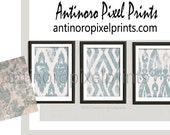 Art Watercolor Ikat Light Blue White Beige Wall Art Picture  - Set includes (3) - 16x20 Prints (UNFRAMED) #248975895
