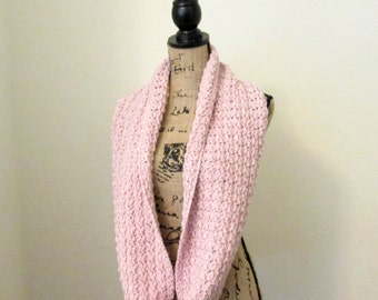 Crochet Infinity Scarf - Knit Infinity Scarf - Cotton Blend - Super Soft - Stonewash Pink