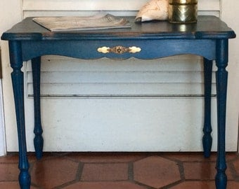 Blue End Table 1940s