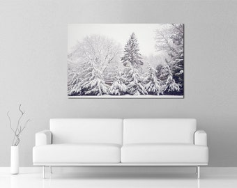 Winter Photography, Snow Covered Trees, Ski lodge decor, Winterscape, black and white, Snow Photograph, Nature Photography, ski chalet decor