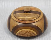 Vintage Hand Turned Wooden Bowl with Lid from Native Woods of New Zealand Mixed Wood Lightly Polished Finish