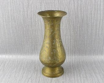 Vintage Solid Brass Ornate Vase Fluted Shaped Ornamental Flower Pattern