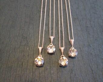 SET of 1,2,3,4,5+ Rose Gold Bridesmaid Necklaces/Rose Gold Crystal Necklace/Vintage Rose Swarovski Necklace/Vintage Rose Wedding Jewelry